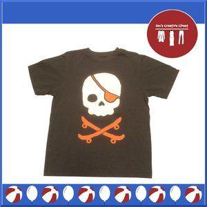 Boys Crazy 8 Brown Pirate Skull Short Sleeve Tee